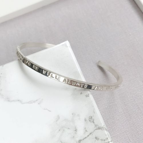Personalised Silver Bangle - Slim
