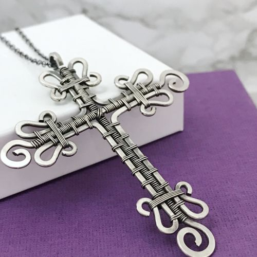 Wire Weave Cross Necklace   Sterling Silver