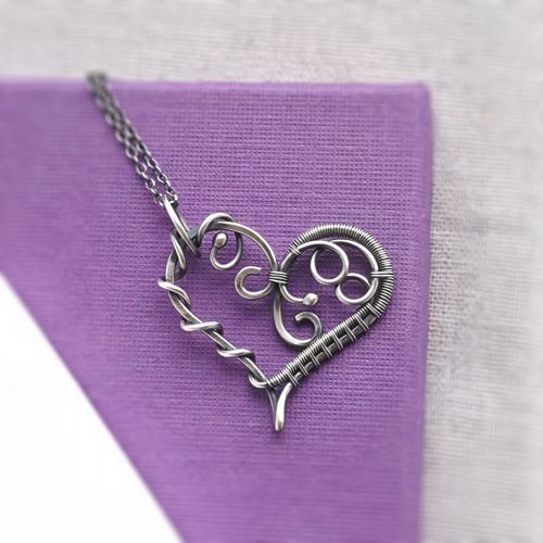 Sterling Silver Artisan Heart Necklace