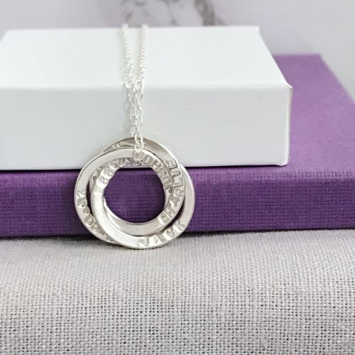 Personalised Silver Russian Ring Necklace