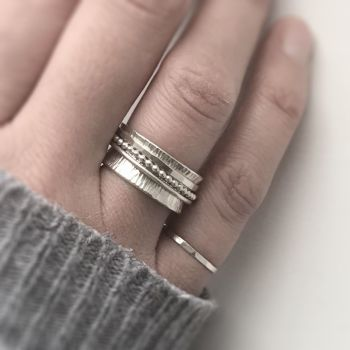 Sterling Silver Spinner Ring | Linear Band