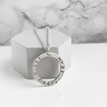 Personalised Silver Circle Necklace