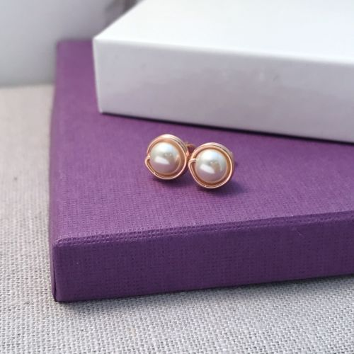 Pearl Stud Earrings | Rose Gold Filled