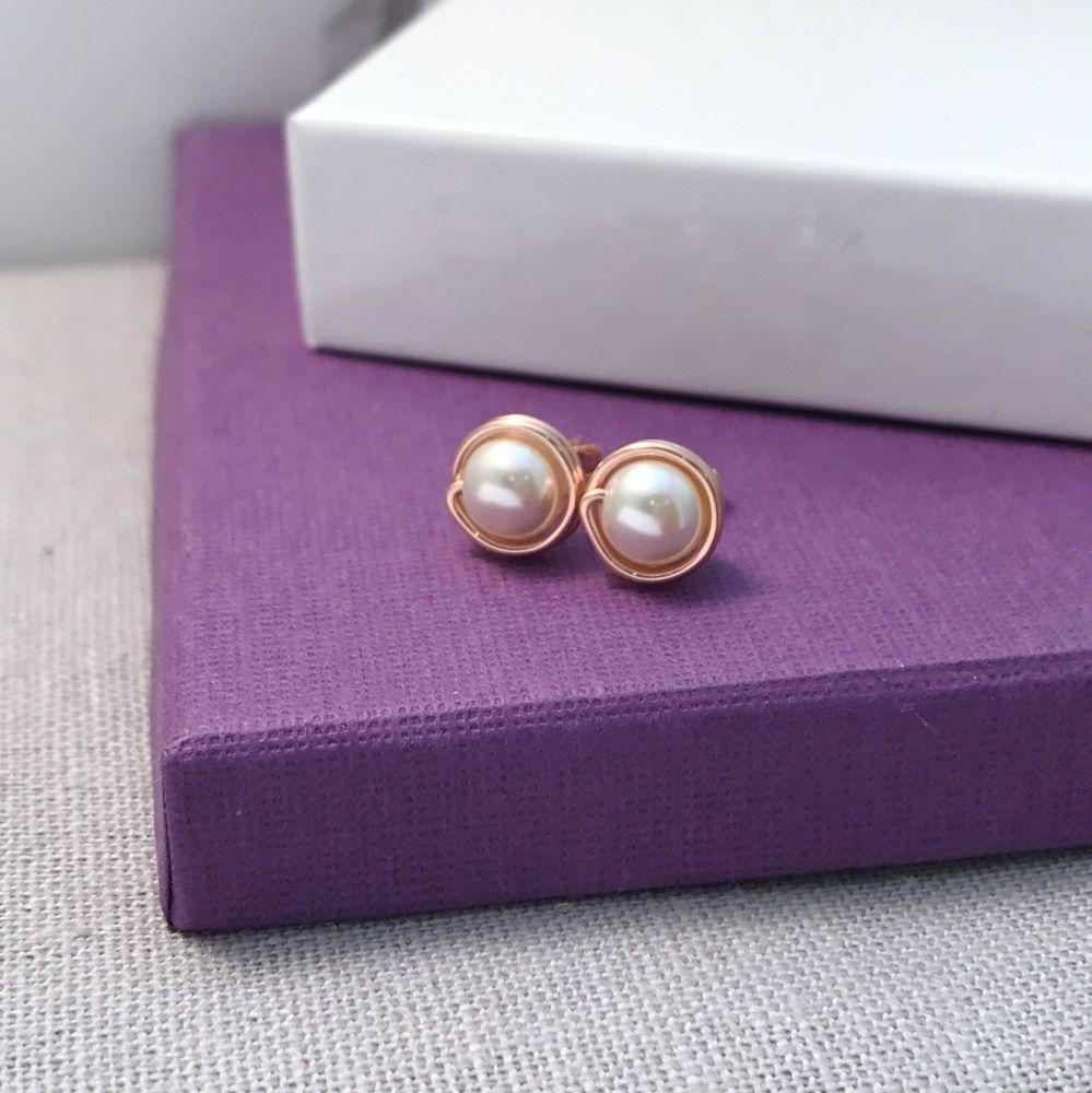 Pearl Stud Earrings | Rose Gold Filled