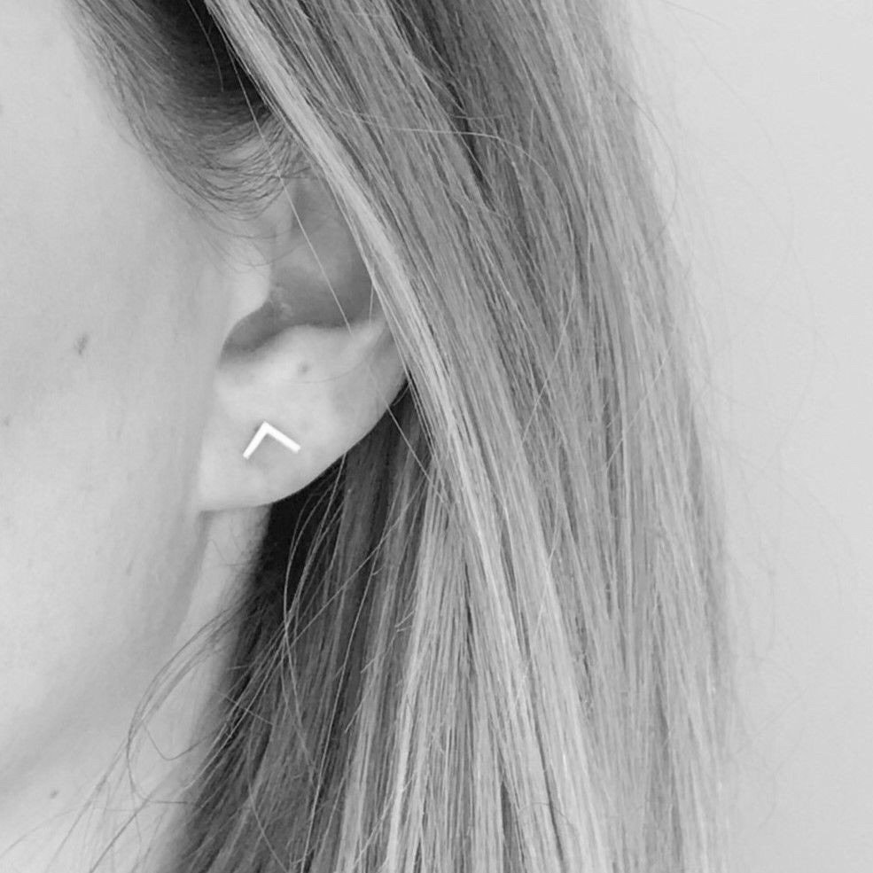 Sterling Silver Chevron Stud Earrings