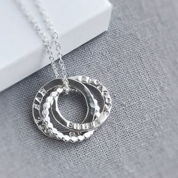 Personalised Interlocking Beaded Triple Circle Necklace