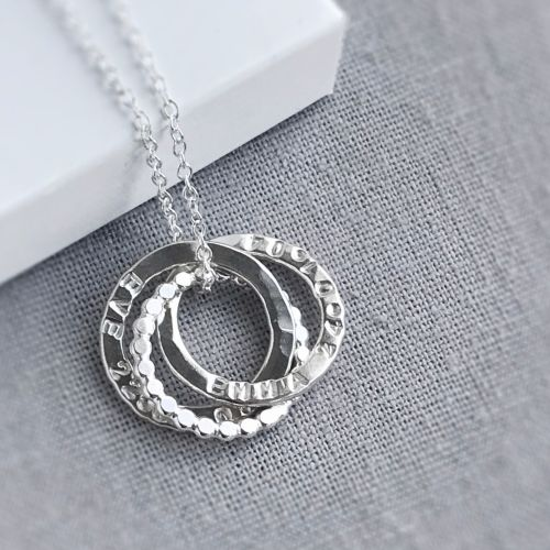 Sterling Silver Personalised Interlocking Beaded Circle Necklace