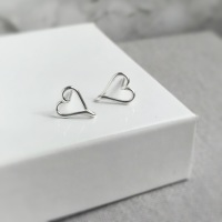 Heart Stud Earrings | Sterling Silver