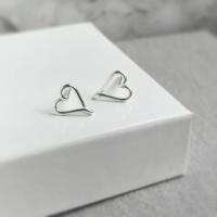 Heart Stud Earrings | Sterling Silver
