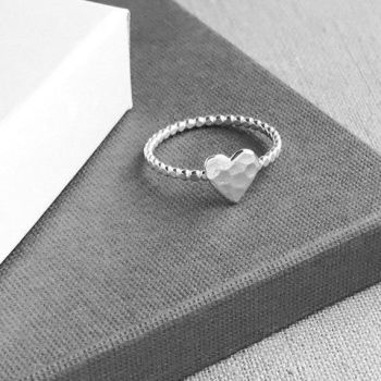 Silver Heart Ring | Beaded Band