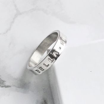 Silver Personalised Ring   Hand Stamped