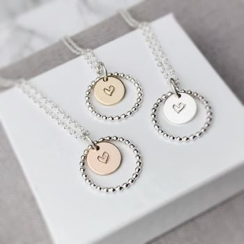 Beaded Circle Heart Necklace | Sterling Silver, Gold or Rose Gold Filled