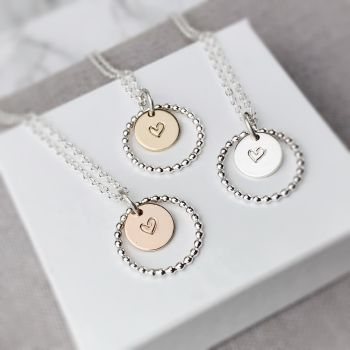 Beaded Circle Heart Necklace   Sterling Silver, Gold or Rose Gold Filled