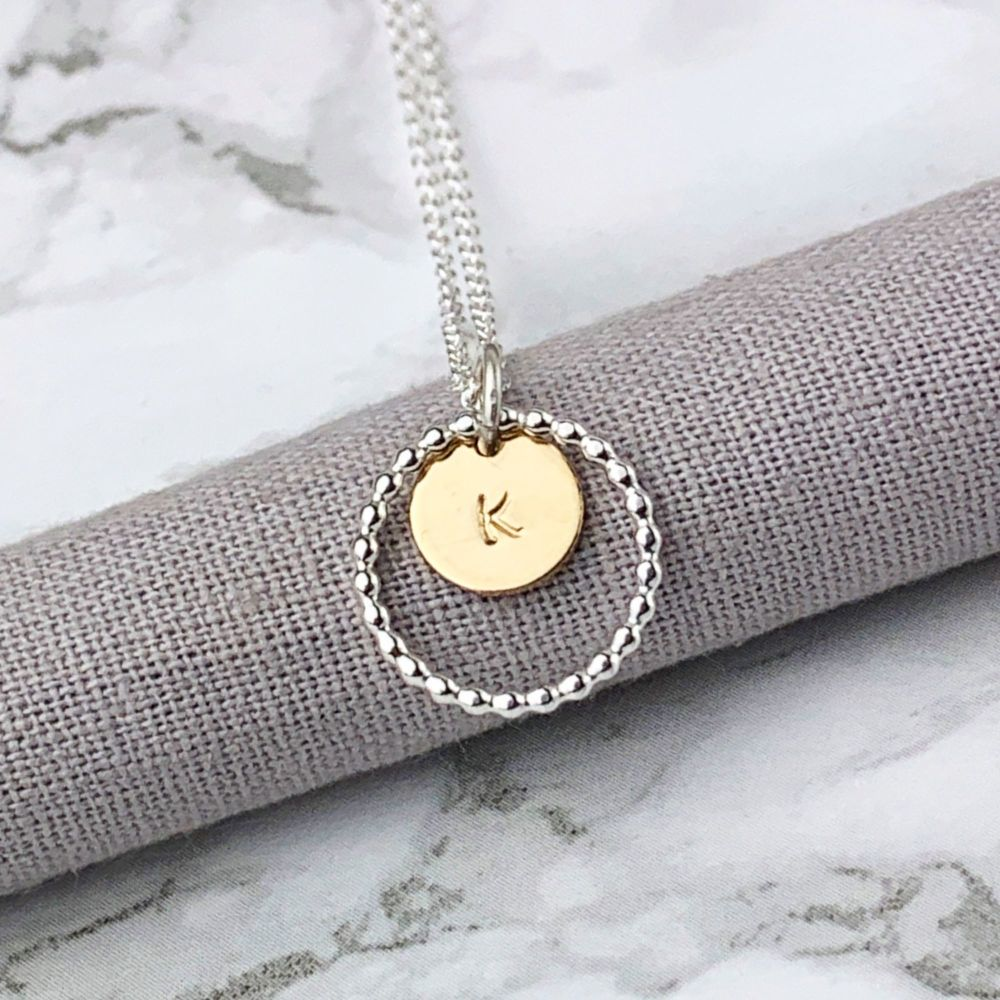Personalised Beaded Circle Initial Necklace