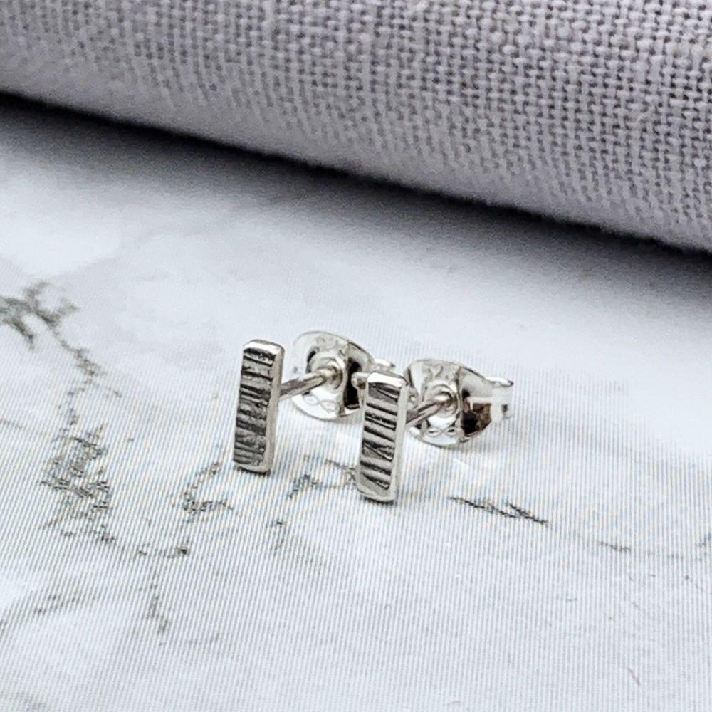 Sterling Silver Tiny Linear Bar Stud Earrings