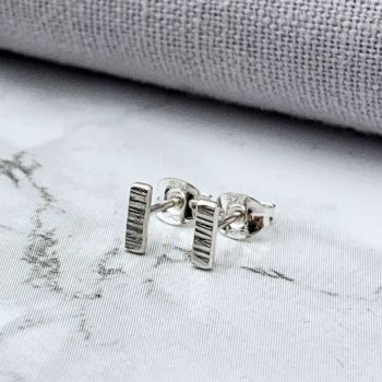 Sterling Silver Tiny Linear Bar Stud Earrings