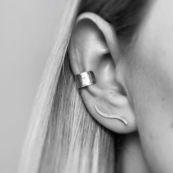 Sterling Silver Hammered Ear Cuff
