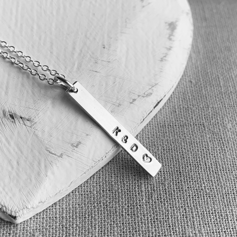 Personalised Silver Vertical Bar Necklace