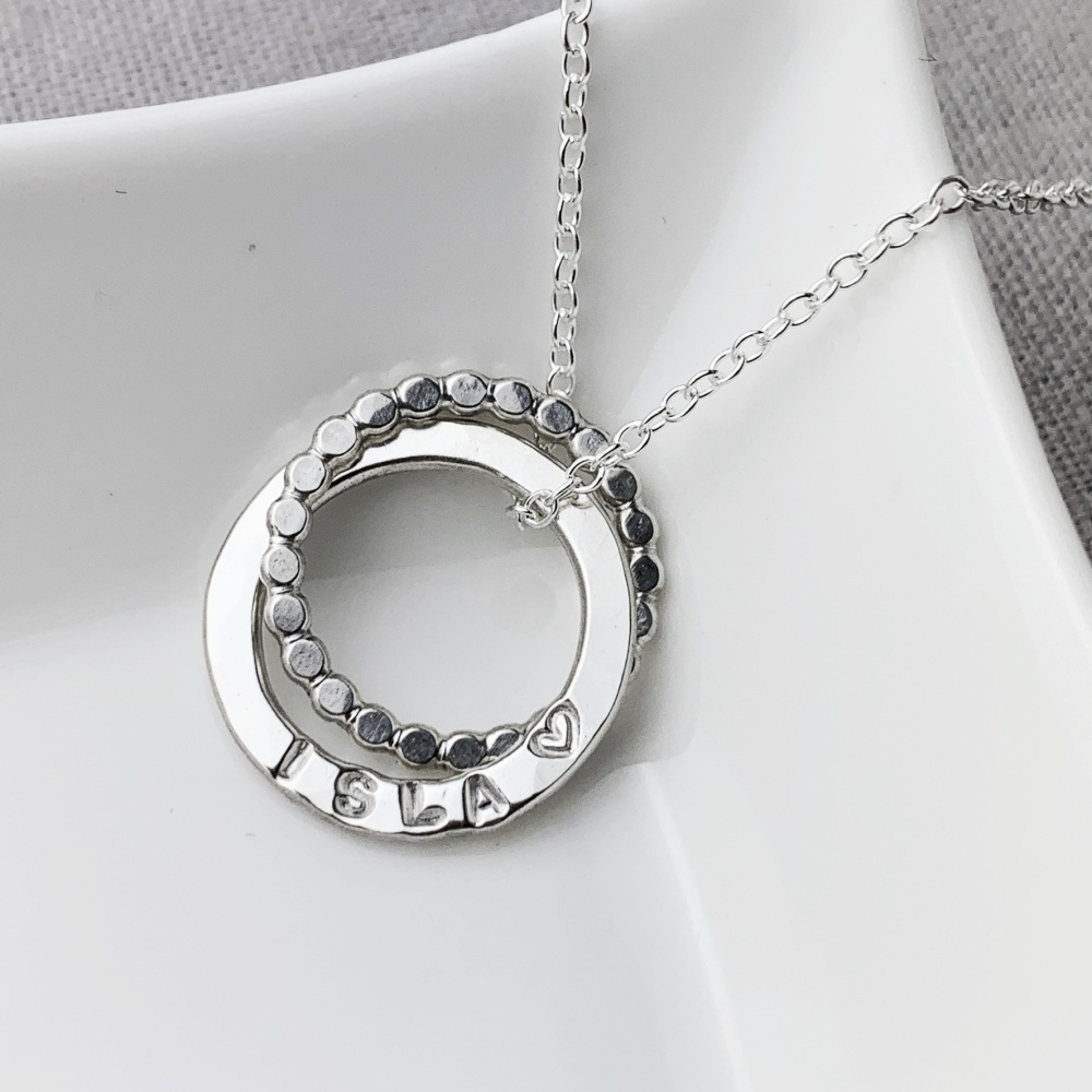 Personalised Interlocking Beaded Double Circle Necklace