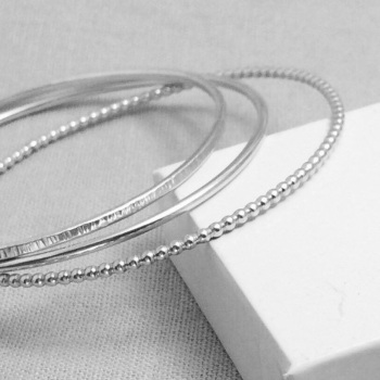 Sterling Silver Stacking Bangles - Beaded, Round & Linear | Set of Three