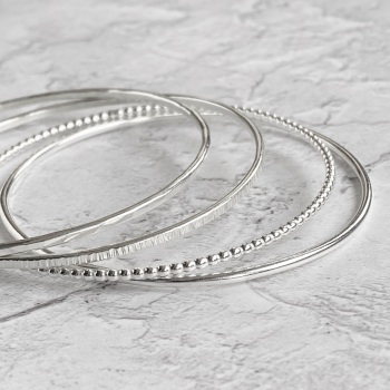Sterling Silver Stacking Bangles - Beaded, Round, Linear & Hammered | Set of Four