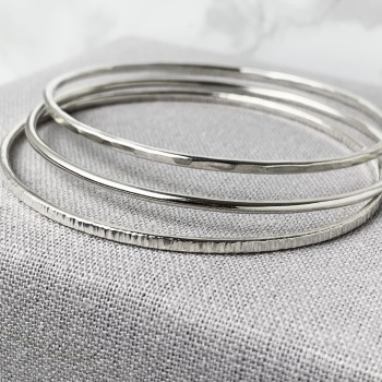 Sterling Silver Stacking Bangles - Round, Hammered & Linear Hammered | Set of Three