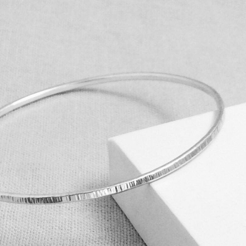 Sterling Silver Linear Hammered Bangle