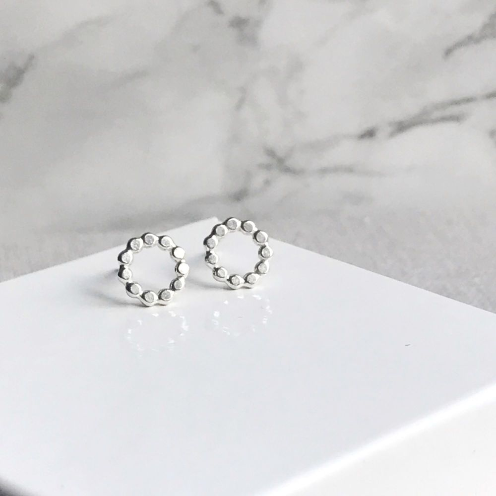 Sterling Silver Beaded Small Circle Stud Earrings
