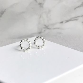 Small Beaded Circle Stud Earrings | Sterling Silver