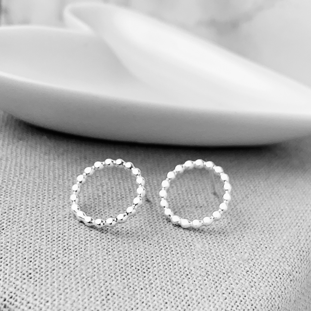 Sterling Silver Beaded Circle Stud Earrings
