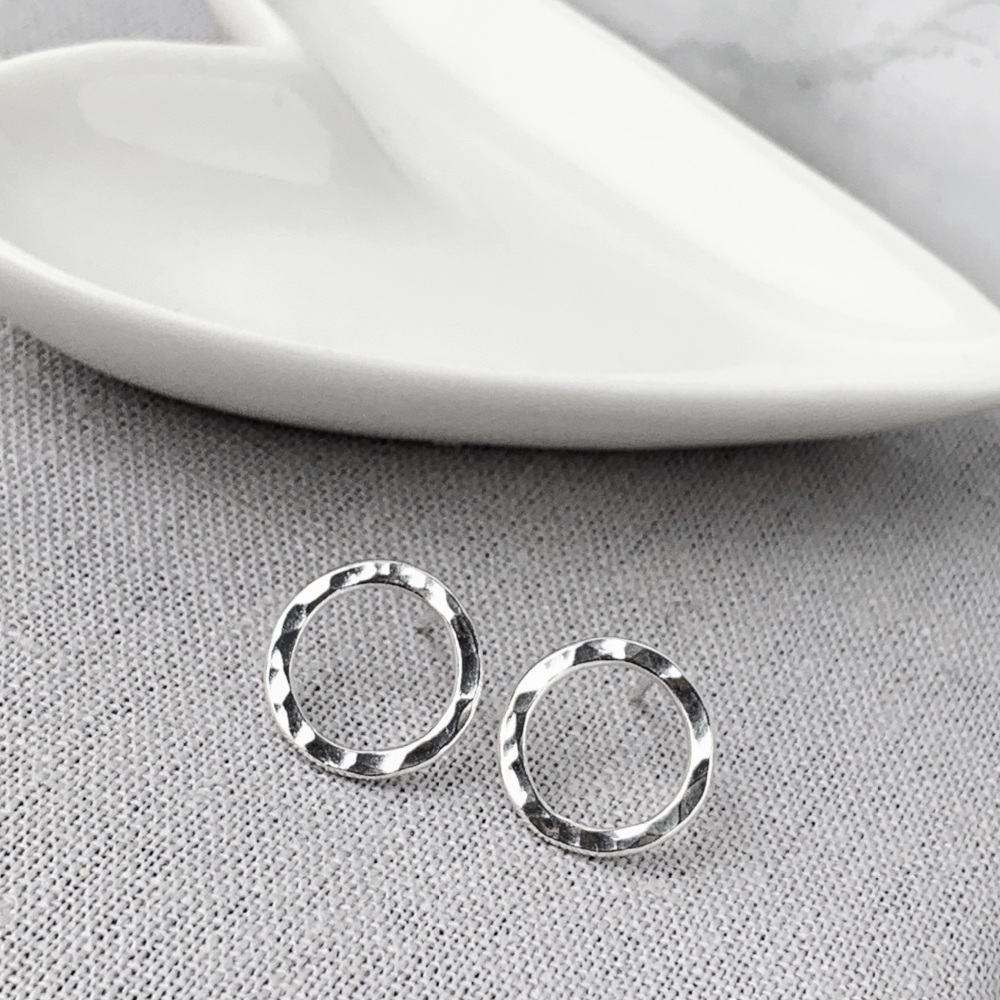 Hammered Silver Circle Stud Earrings