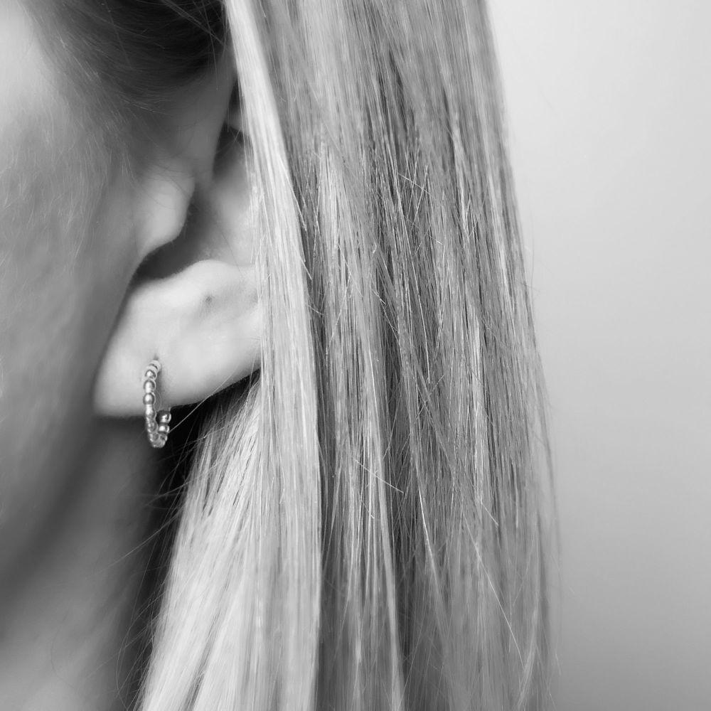 Small Beaded Hoop Earrings | Sterling Silver