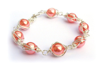Wire Wrapped Pearl Bracelet - Coral