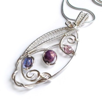 Wire Weaved Marquis Pendant - Purple