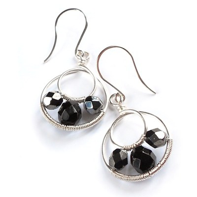 hoop faceted earrings - black - handmade earrings (6)