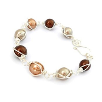 Wire Wrapped Pearl Bracelet - Brown