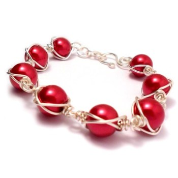 Wire Wrapped Pearl Bracelet - Red