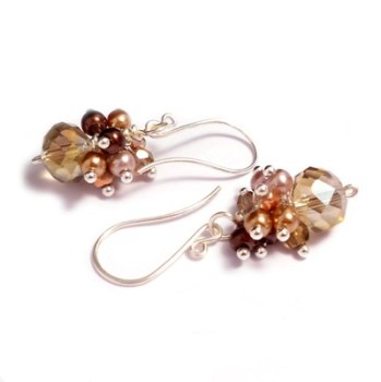 Brown and Beige Crystal and Pearl Cluster Earrings