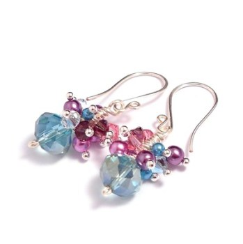 Sea Blue, Pink and Purple Crystal and Pearl Cluster Earrings