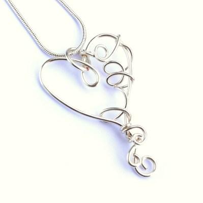 Handmade Wire Heart Pendant - Handmade Jewellery