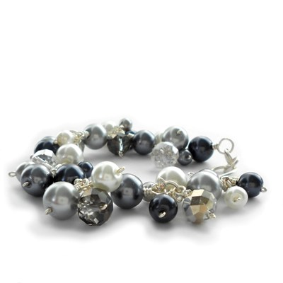 black and grey pearl cluster bracelet - handmade jewellery