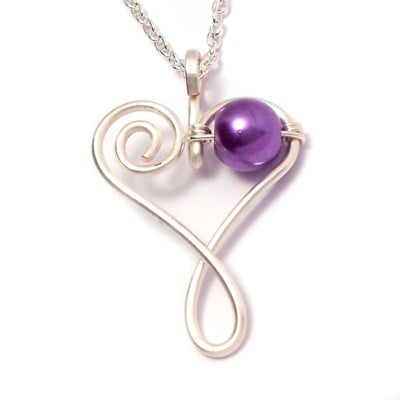 Handmade Wire Heart Pendant - Purple Pearl