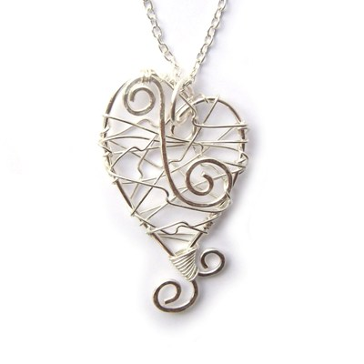 Wire Wrapped Sprial Heart Pendant - Handmade Jewellery