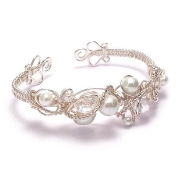 Crystal and Pearl Wire Weave Bridal Cuff Bracelet