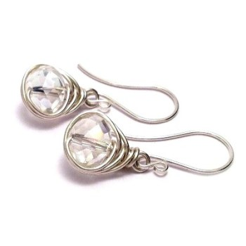 Sterling Silver Wire Wrapped Crystal Bridal Earrings