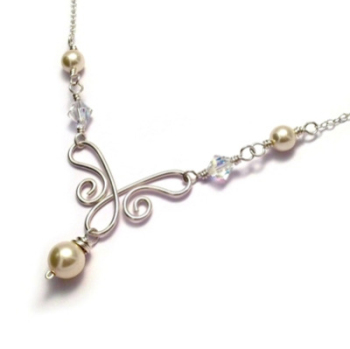 Swarovski Pearl & Crystal Sterling Silver Wirework Bridal Necklace