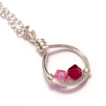 Circle Family Birthstone Necklace: 1-3 Crystals
