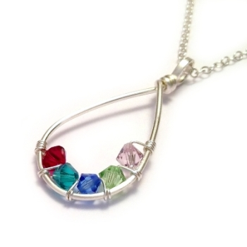Teardrop Family Birthstone Necklace: 4-7 Crystals