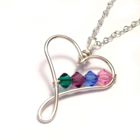 Heart Family Birthstone Necklace: 4-7 Crystals