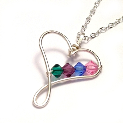 circle necklace family pendant birthstone